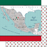 Scrapbook Customs - Adventure Collection - 12 x 12 Double Sided Paper - Mexico Map