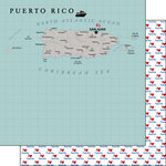 Scrapbook Customs - Adventure Collection - 12 x 12 Double Sided Paper - Puerto Rico Map