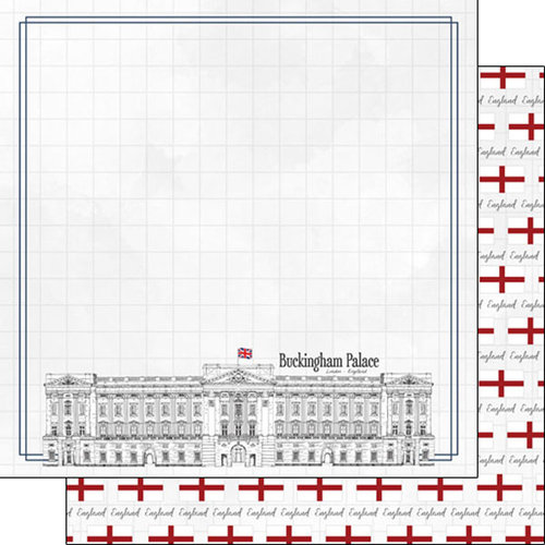 Scrapbook Customs - Adventure Collection - 12 x 12 Double Sided Paper - London Buckingham Palace
