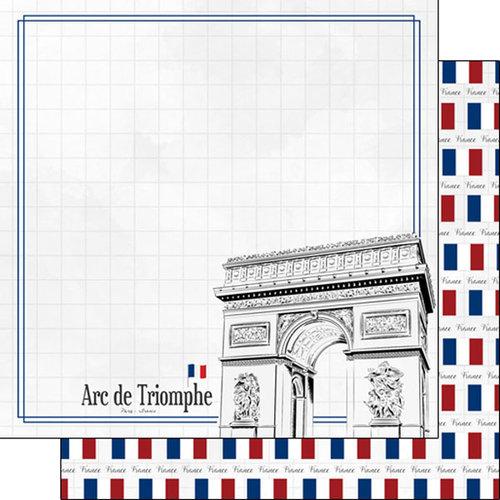 Scrapbook Customs - Adventure Collection - 12 x 12 Double Sided Paper - Paris Arc de Triomphe