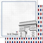 Scrapbook Customs - Adventure Collection - 12 x 12 Double Sided Paper - Paris Arc de Triomphe