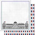 Scrapbook Customs - Adventure Collection - 12 x 12 Double Sided Paper - Paris Louvre Museum