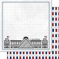 Scrapbook Customs - Adventure Collection - 12 x 12 Double Sided Paper - Paris Louvre Museum