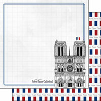 Scrapbook Customs - Adventure Collection - 12 x 12 Double Sided Paper - Paris Notre Dame Cathedral