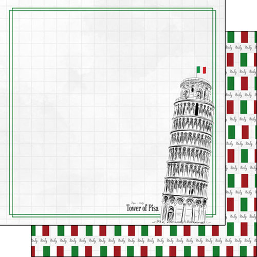 Scrapbook Customs - Adventure Collection - 12 x 12 Double Sided Paper - Tower of Pisa
