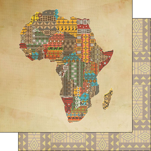 Scrapbook Customs - African Safari Collection - 12 x 12 Double Sided Paper - Africa Shape