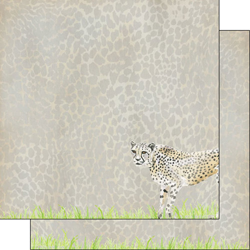 Scrapbook Customs - African Safari Collection - 12 x 12 Double Sided Paper - Cheetah