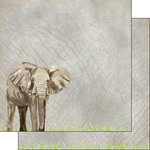 Scrapbook Customs - African Safari Collection - 12 x 12 Double Sided Paper - Elephant