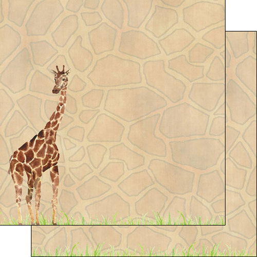 Scrapbook Customs - African Safari Collection - 12 x 12 Double Sided Paper - Giraffe