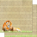 Scrapbook Customs - African Safari Collection - 12 x 12 Double Sided Paper - Lion