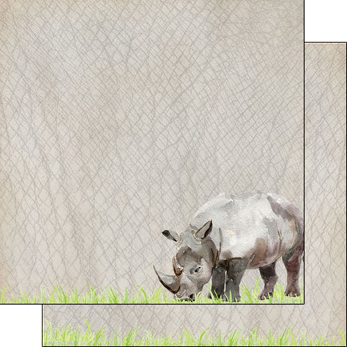 Scrapbook Customs - African Safari Collection - 12 x 12 Double Sided Paper - Rhino