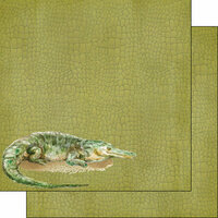 Scrapbook Customs - African Safari Collection - 12 x 12 Double Sided Paper - Crocodile
