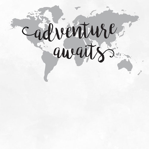 Scrapbook Customs - 12 x 12 Paper - Adventure Awaits - World Map