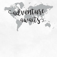 Scrapbook Customs - 12 x 12 Paper - Adventure Awaits - World Map