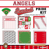 Scrapbook Customs - Baseball - 12 x 12 Paper Pack - Angels Pride