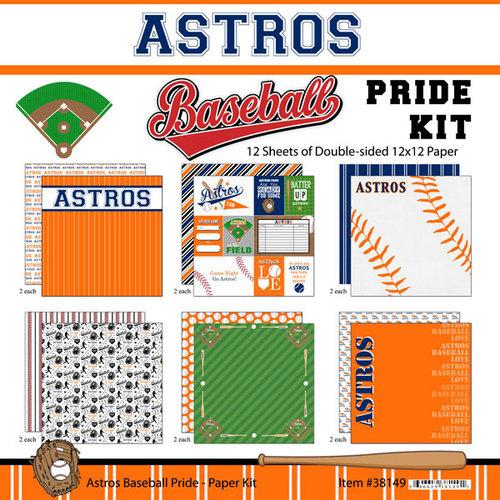 Scrapbook Customs - Baseball - 12 x 12 Paper Pack - Astros Pride