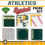 Scrapbook Customs - Baseball - 12 x 12 Paper Pack - Athletics Pride