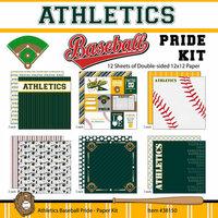 Scrapbook Customs - Baseball - 12 x 12 Paper Pack - Athletics Pride