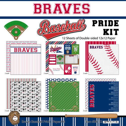 Scrapbook Customs - Baseball - 12 x 12 Paper Pack - Braves Pride