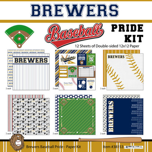 Scrapbook Customs - Baseball - 12 x 12 Paper Pack - Brewers Pride