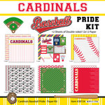 Scrapbook Customs - Baseball - 12 x 12 Paper Pack - Cardinals Pride