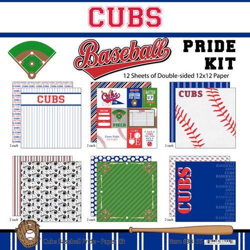 Scrapbook Customs - Baseball - 12 x 12 Paper Pack - Cubs Pride