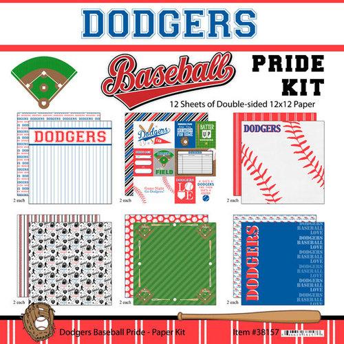 Scrapbook Customs - Baseball - 12 x 12 Paper Pack - Dodgers Pride