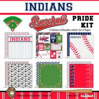 Scrapbook Customs - Baseball - 12 x 12 Paper Pack - Indians Pride
