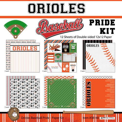 Scrapbook Customs - Baseball - 12 x 12 Paper Pack - Orioles Pride