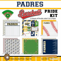 Scrapbook Customs - Baseball - 12 x 12 Paper Pack - Padres Pride