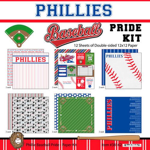 Scrapbook Customs - Baseball - 12 x 12 Paper Pack - Phillies Pride