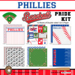 Scrapbook Customs - Baseball - 12 x 12 Paper Pack - Phillies Pride