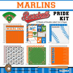 Scrapbook Customs - Baseball - 12 x 12 Paper Pack - Marlins Pride