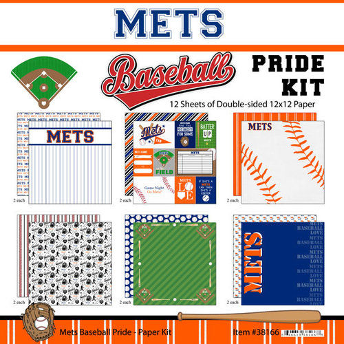 Scrapbook Customs - Baseball - 12 x 12 Paper Pack - Mets Pride