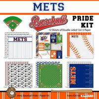 Scrapbook Customs - Baseball - 12 x 12 Paper Pack - Mets Pride