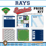 Scrapbook Customs - Baseball - 12 x 12 Paper Pack - Rays Pride
