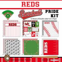 Scrapbook Customs - Baseball - 12 x 12 Paper Pack - Reds Pride