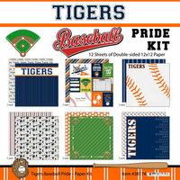 Scrapbook Customs - Baseball - 12 x 12 Paper Pack - Tigers Pride