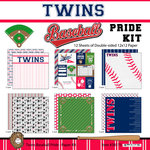 Scrapbook Customs - Baseball - 12 x 12 Paper Pack - Twins Pride