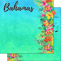 Scrapbook Customs - World Collection - Bahamas - 12 x 12 Double Sided Paper - Getaway