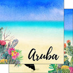 Scrapbook Customs - World Collection - Aruba - 12 x 12 Double Sided Paper - Getaway