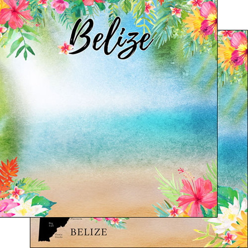 Scrapbook Customs - World Collection - Belize - 12 x 12 Double Sided Paper - Getaway