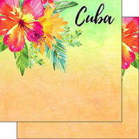 Scrapbook Customs - World Collection - Cuba - 12 x 12 Double Sided Paper - Getaway