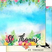 Scrapbook Customs - World Collection - Virgin Islands - 12 x 12 Double Sided Paper - Getaway - St. Thomas