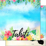 Scrapbook Customs - World Collection - Tahiti - 12 x 12 Double Sided Paper - Getaway
