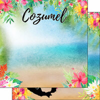Scrapbook Customs - World Collection - Mexico - 12 x 12 Double Sided Paper - Getaway - Cozumel