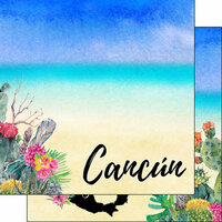 Scrapbook Customs - World Collection - Mexico - 12 x 12 Double Sided Paper - Getaway - Cancun