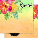 Scrapbook Customs - World Collection - USA - 12 x 12 Double Sided Paper - Getaway - Kauai