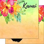 Scrapbook Customs - World Collection - USA - 12 x 12 Double Sided Paper - Getaway - Kauai