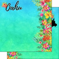 Scrapbook Customs - World Collection - USA - 12 x 12 Double Sided Paper - Getaway - Oahu